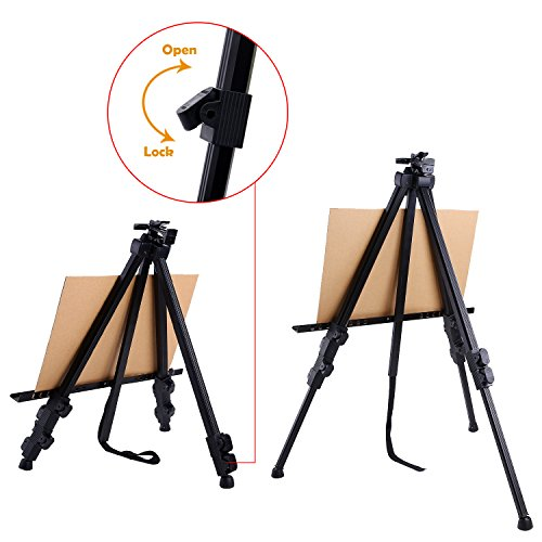Display Easel Stand, Ohuhu 48-Pack 72'' Aluminum Metal Tripod Field Easel with Bag for Table-Top/Floor, Black Art Easels W/Adjustable Height from 25-72'' for Poster, Paint Back to School by Ohuhu (Image #2)