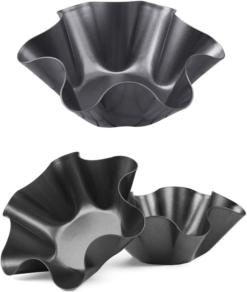 3 Pack Tortilla Maker Nonstick Taco Shell Maker Salad Bowl Carbon Steel Baking Molds for Kitchen - Black,6 inch (3)