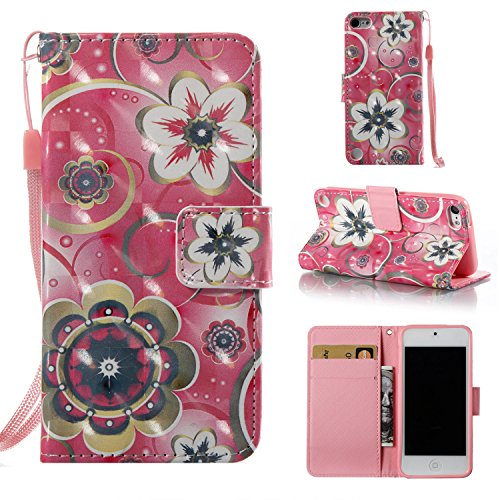 iPod Touch 5 Case, iPod Touch 6 Case, Dteck 3D Premium Leather Wallet Case with Card Holder and Hand Strap Kickstand Shockproof Cover for Apple iPod Touch 6th / 5th Generation, Datura ()