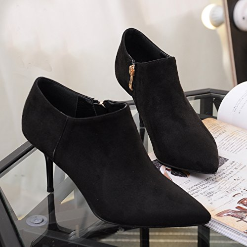 Zipper Honeystore Boots Toe Mid Classical With Heel Pointed Black Stiletto Ankle Boots SBSwWUzqr