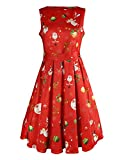 OUGES Women's Christmas Gifts Fit and Flare Cocktail Dress(Red Xmas-01,L)