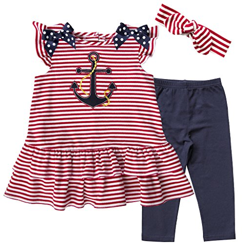 631ae95139eb4 Good Lad Infant Girls Red and White Striped Knit Nautical Dress and Legging  Set with Soft