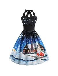 FarJing Christmas Dress, Women Vintage Printed Halter Evening Party Dress