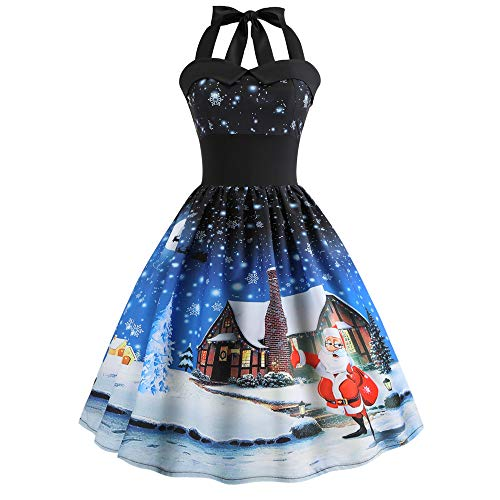 Women Retro Halter Neck Mini Dress Christmas Santa Claus Printed Party Prom Swing Dress (L,Blue)