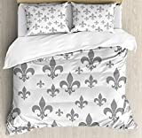 Fleur De Lis Duvet Cover Set King Size by Ambesonne, Ethnic Lily Pattern Classic Retro Royal Vintage European Iris Ornamental Artwork, Decorative 3 Piece Bedding Set with 2 Pillow Shams, Grey