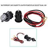ixaer 3 in1 Waterproof Motorcycle 12V 120W Scooter Female Cigarette Lighter Socket Power Plug Socket - Dual 3.1A USB Car Charger Adapter - 60CM Power Cable for Phone GPS MP3