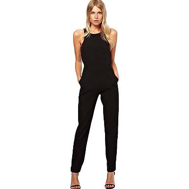 671374ff7a9 JERFER Combinaison Femme Combi-Pantalon de soirée Moulant sans Manches Combi -Pantalon Jumpsuit Rompers  Amazon.fr  Vêtements et accessoires