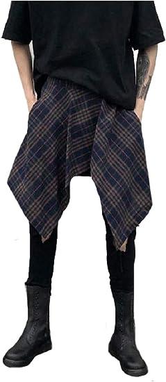 AngelSpace Men's Buttoned Asymmetric Hem Fashion Pants Fashion Culottes Trousers