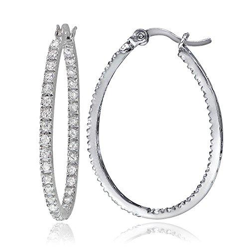 Hoops & Loops Sterling Silver Cubic Zirconia Inside Out 30mm Oval Hoop Earrings Oval Loop Earrings