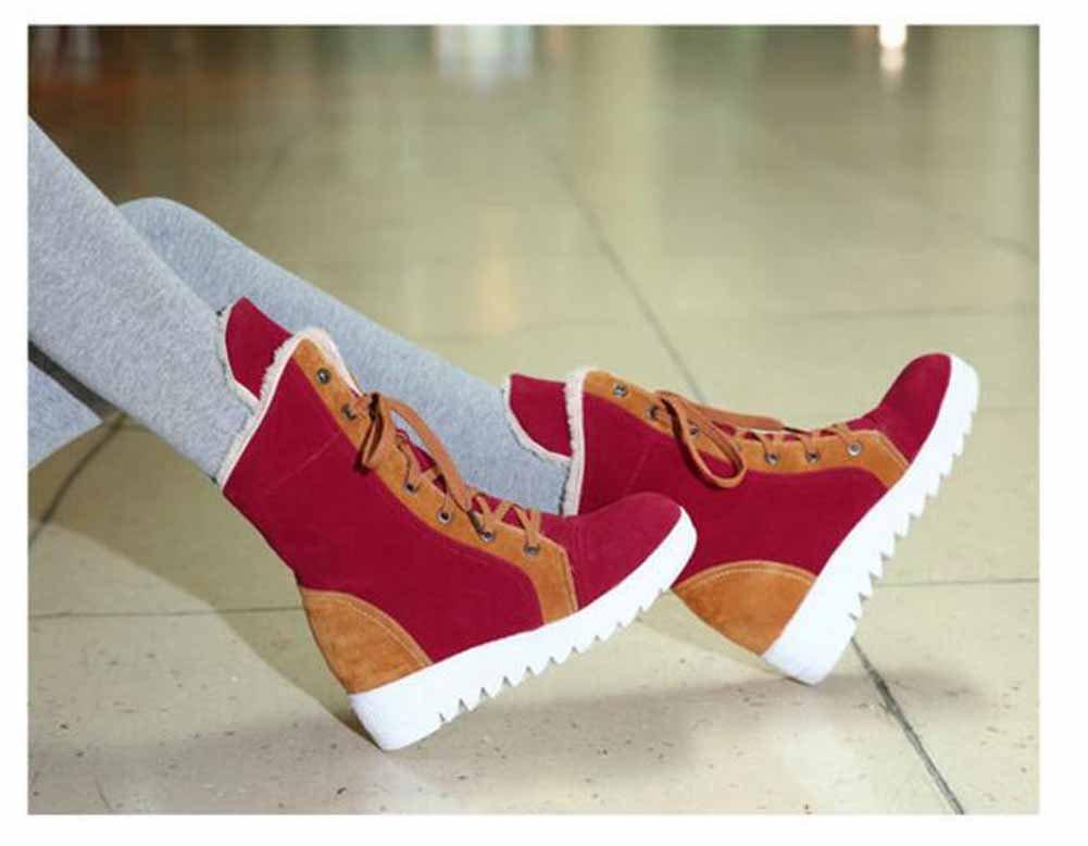 Frauen Schuhe Beflockung Herbst Winter Mary Jane Schneeschuhe Schneeschuhe Schneeschuhe Flache Ferse Stiefeletten Schnür-lässig ( Farbe   rot  Größe   36 ) 29abb0