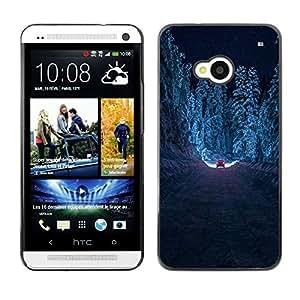 For HTC One M7 Case , Drive Forest Winter Snow Road Free - Diseño Patrón Teléfono Caso Cubierta Case Bumper Duro Protección Case Cover Funda