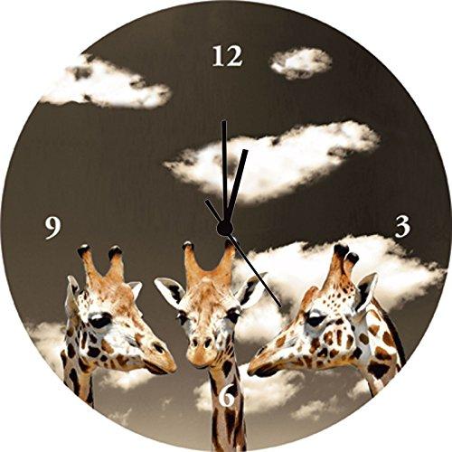 Artland Qualitätsuhren I Funk Wanduhr Designer Uhr Glas Funkuhr Größe: 35 Ø Wildtiere Giraffe Sepia G3JC