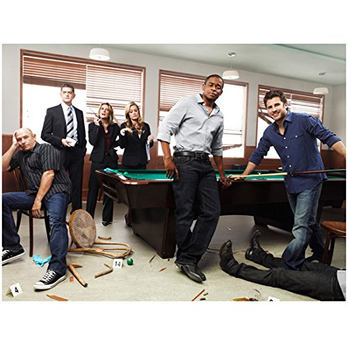 - Psych Promo Cast Posing At Pool Table Crime Scene 8 x 10 Inch Photo