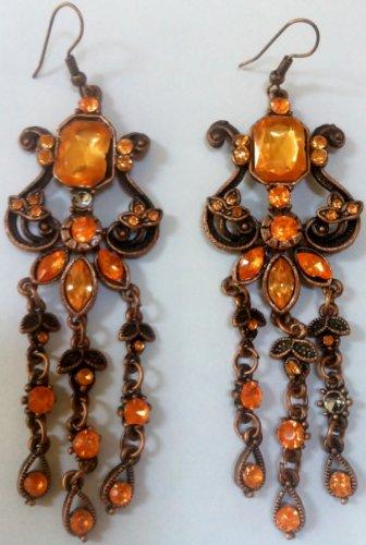 Vintage Style, Princess Jasmine Halloween Costume Accessory, Ear Jewelry, Earrings, Yellow Bronze, 3