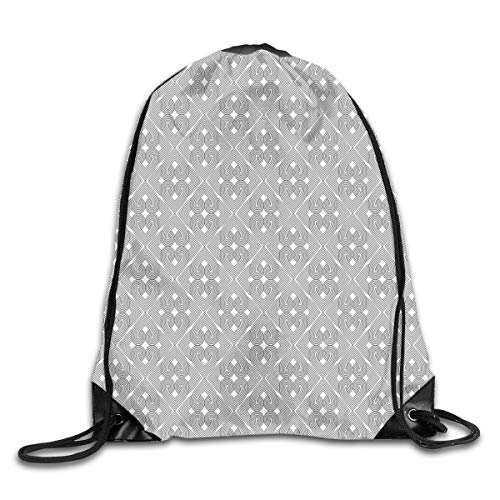 Unisex Drawstring Bag Gym Bags Storage Backpack,Quatrefoils Composed Of Heart Shaped Swirled Stripes Interlocked Pattern