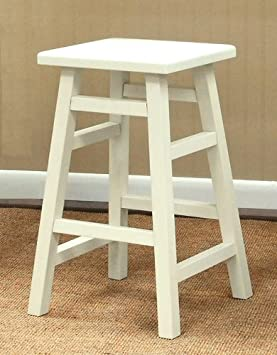 Carolina Cottage 24 in. Antique White O Malley Pub Counter Stool