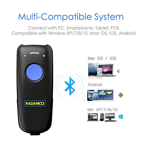 NADAMOO 3-in-1 Barcode Scanner (Bluetooth & 2.4G Wireless & Wired Connection) USB 1D Mini Portable CCD Bar Code Reader Computer, Tablet, Smartphone Work Windows, Mac, Linux, Android, iOS by NADAMOO (Image #2)