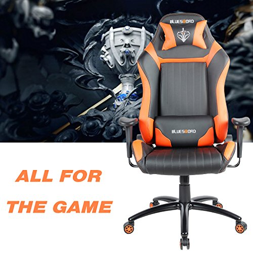 Blue Sword Leather Computer Gaming Chair Large Size Office
