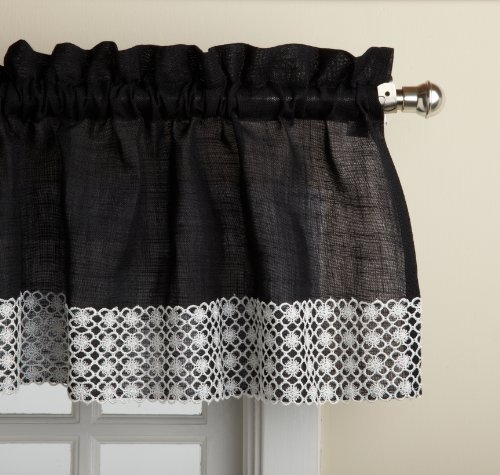 Lorraine Home Fashions Salem 60-inch x 12-inch Tailored Valance, Black - Black Kitchen Curtains: Amazon.com