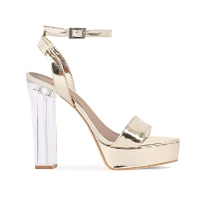 2cb5398c00b Womens Buckle Chunky Metallic Clear Perspex Block Heels Platforms ...