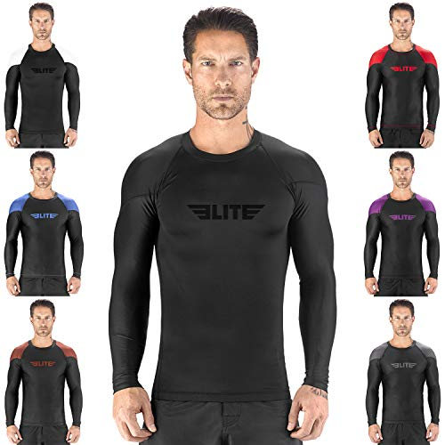 Elite Sports New Item Full Long Sleeve Compression, Mma, Bjj, No Gi, Cross Training Rash Guard, Small, Black