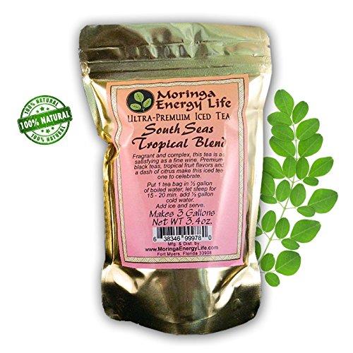 Ultra-Premuim Iced Tea South Seas Tropical Blend. Premuim Black Teas, Tropical Fruit & a Dash of Citrus. 3 One Gallon Tea bags. 3.4 oz (Life Sea Tropical)