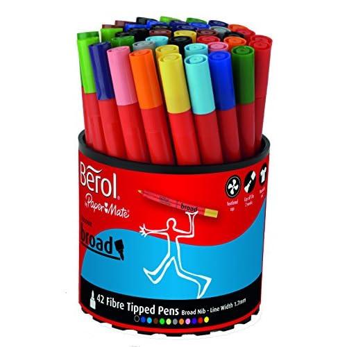 Berol Colour Broad Feutres de Coloriage Pointe Large - Assortiment de Couleurs (Lot de 42)