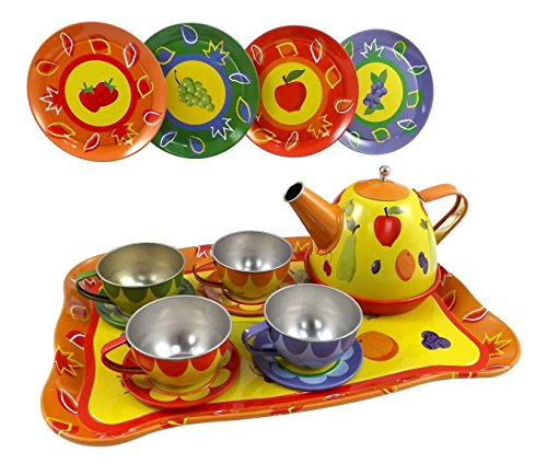 Playset Tin - Kids Colorful Fruit Tin Tea Party Set for Children - Metal Teapot and Cups Kitchen Playset Toy