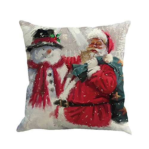 iZHH Christmas Print Dyeing Sofa Bed Home Decor Pillow Cover 18 x 18 inch