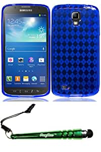 Samsung i537 Galaxy S 4 Active Crystal Skin Blue Case Cover Protector Include FoxyCase Stylus cas couverture