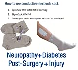 HealthmateForever 2 silver conductive socks+1 dual leads wire connector+ 2 pcs Large Rectangle pads (2 inch x4 inch) +User guide for therapy Diabetic Neuropathy, calf cramp, swollen legs