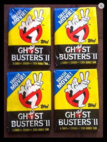 Retro Ghostbusters 1989 Trading Cards (4) Wax Pack Lot Topps Movie Stickers and Cards Non-sport ()