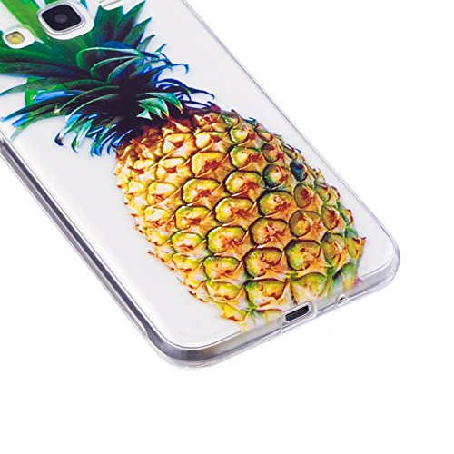 J3 2016 Case, Samsung J3 2016 Soft Case, Samsung Galaxy J310 Clear Back Cover, Cozy Hut Ultra Light Slim Shockproof Silicone TPU Gel Case [Ultra-Thin] [Lightweight] [Anti-Scratch] [Drop Protection] Tr Golden pineapple