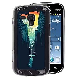 A-type Arte & diseño plástico duro Fundas Cover Cubre Hard Case Cover para Samsung Galaxy S Duos S7562 (Art Nature Colorful Minimalist Teal)
