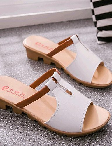 ShangYi Womens Shoes Leatherette Low Heel Comfort Sandals Outdoor / Casual Black / Blue / Pink / White Black