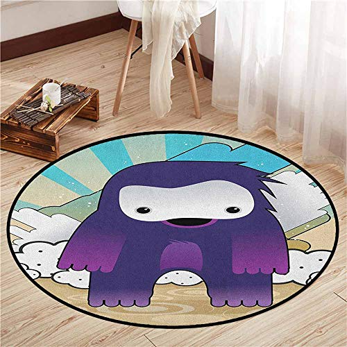 Kids Rugs,Anime,Japanese Manga Character Fantastic Monster on an Abstract Retro Style Background,Children Crawling Bedroom Rug,3'11