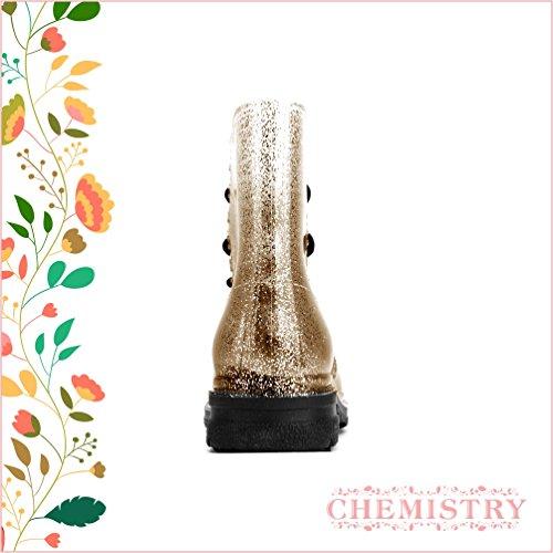 Chemistry® Femmes Cheville Plat Gelée Martin Bottes De Pluie Champagne