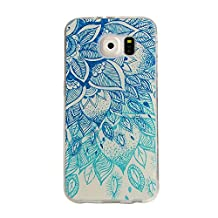 Aeeque Samsung S6 Edge Silicone Case Cover, Ultra Slim Clear Thin TPU Gel Klar Soft Flexible Bumper Shell Cover Drawing Colorful Pattern for Galaxy S6 Edge - Vintage Green Flower