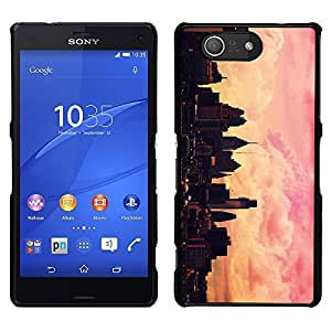 [Neutron-Star] Snap-on Series Teléfono Carcasa Funda Case Caso para Sony Xperia Z4v / Sony Xperia Z4 / E6508 [City Skyline Pink Yellow Nyc Sunset]