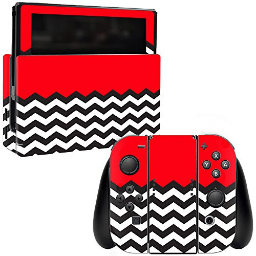 MightySkins Skin Compatible with Nintendo Switch - Red Chevron | Protective, Durable, and Unique Vinyl Decal wrap Cover | Easy to Apply, Remove, and Change Styles | Made in The USA