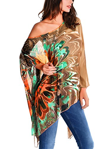 DJT Women's Floral Printed Chiffon Caftan Poncho Tunic Top One Size Brown
