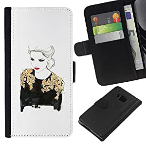 For HTC One M7 Case , Gold Lady Woman Red Lips White - la tarjeta de Crédito Slots PU Funda de cuero Monedero caso cubierta de piel