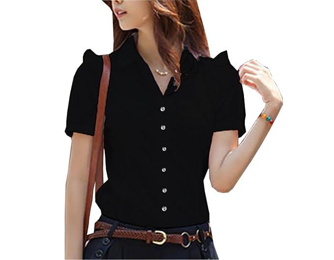 266544e0 Women Blouse Short Sleeve V Neck Elegant Shirt Korean Fashion Work Tops  Black