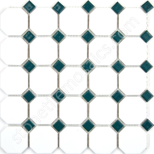 Boxes Porcelain Mosaic Tiles - Vogue Octagon Porcelain Mosaic Tile Matte White with Glossy Green Dots Designed in Italy (Box of 5 sq. ft.)
