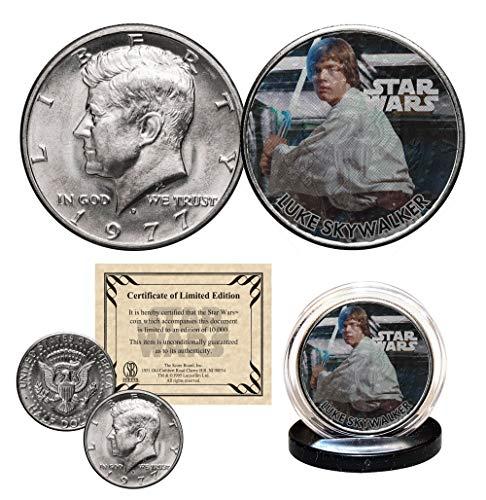 (LUKE SKYWALKER - STAR WARS Officially Licensed 1977 JFK Half Dollar U.S. Coin)