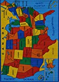 Rugs 4 Less Collection Educational USA Map Design Kids Area Rug 3'3''x4'10
