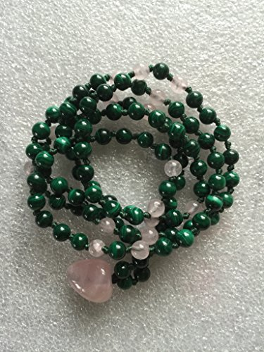 Heart Chakra Rose Quartz and Malachite 108 Hand Knotted Mala Beads 6mm Unconditional love Openness Balance Forgiveness Trust Compassion Insomnia Fertility Child Birth – USA Seller