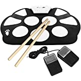Portable Mini USB Interface Kids Silicon Foldable Electronic Roll up Digital Drum Pad Kit with Drum Stick Foot Switch Pedal