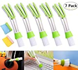 5 Pack Mini Duster for Car Air Vent, Magnolora Automotive Air Conditioner Cleaner, Double Ended Mini Dust Blind Cleaner for Keyboard Window Leaves Blinds Shutter, 2 Microfiber Cloth for Bonus