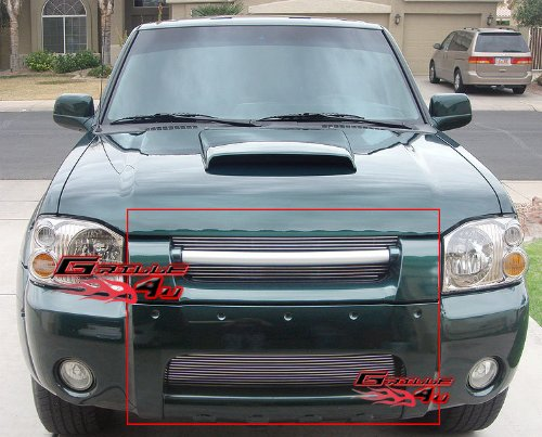 01-04 Nissan Frontier Billet Grille Grill Combo Upper+Lower Insert # N87987A (2004 Nissan Frontier Grill)